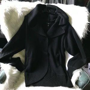 Aqua Wool and Cashmere Black Cardigan